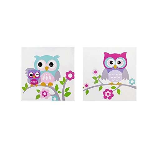 Wise Wendy Animal White Canvas Wall Art 12X12 2 Piece Multi Panel, Casual Wood Wall Décor ()