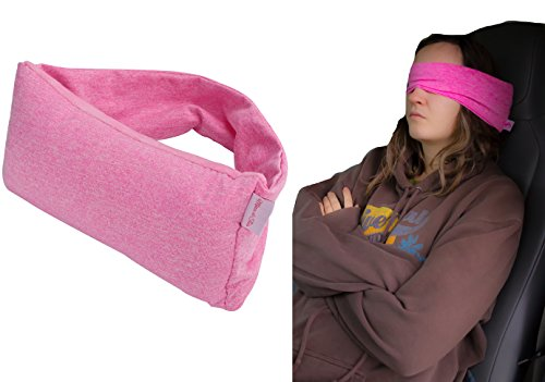 2 in 1 Voyage Travel Pillow and Eye Mask, Long Flight Essentials Accessories, Neck Support, Chin Rest, Light, Compact, Stylish, Comfortable 100% Cotton for airplane,train,car,office nap,camping (Pink)