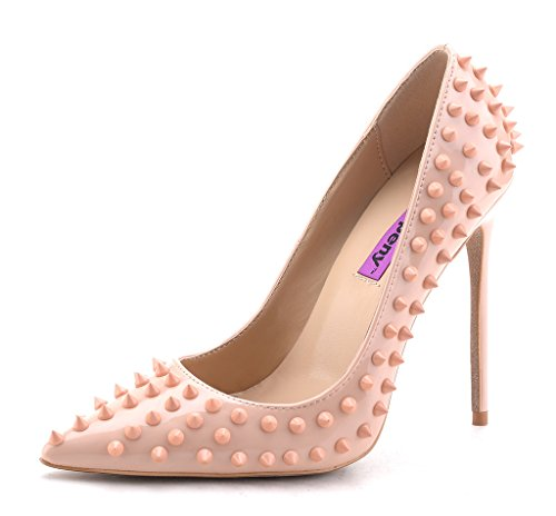 Fashion Classic Rivet High heels Pointed Toe Court Shoes Slip On Bridal Party Pumps UK 2.5-9 Nude KVI6zC9D