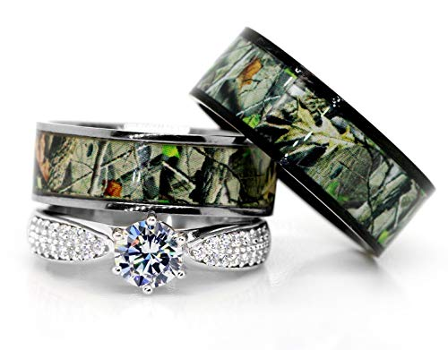 Kingsway Jewelry Mens & Womens Camo Engagement Wedding Rings Set Silver & Titanium (Size His 09, Hers 07)
