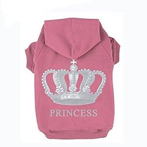 EXPAWLORER Princess Dog Cat Fleece Sweatshirt Hoodies , Pink, Small