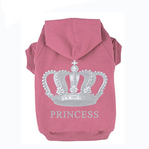 (EXPAWLORER Princess Dog Cat Fleece Sweatshirt Hoodies Pink XL)