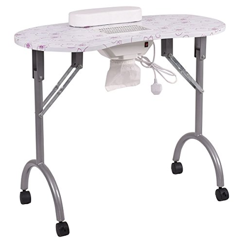 Giantex Folding Portable Vented Manicure Table Nail Desk Salon Spa With Fan &Bag (Silver Flowers)
