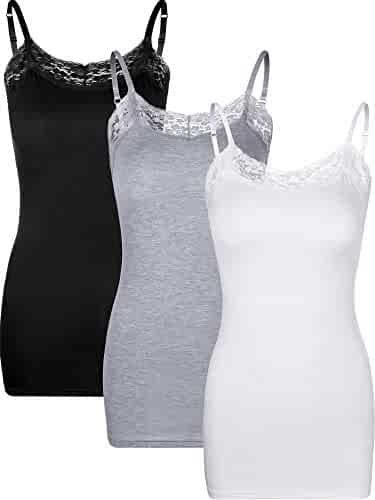 31a02012fc Zhanmai 3 Pieces Women's V Neck Camisole Tank Top Stretchy Lace Camisole  with Adjustable Strap for