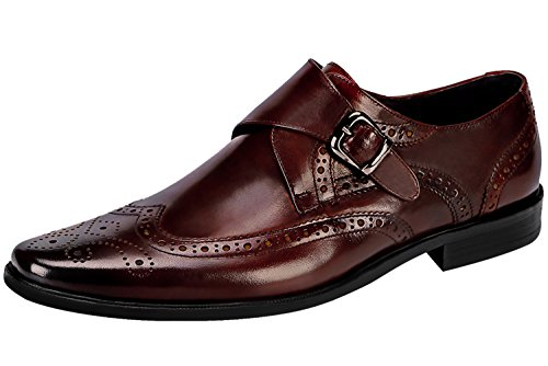 Derby Buckle Modern Brogue Leather Shoes Brown Shoes For by Classic Monk Dress Oxfords Men Casual Santimon pxPFTwWq4