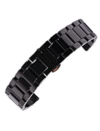14mm superior Full Ceramics Replacement Watch Strap Bracelet in black with inox steel deployment buckle