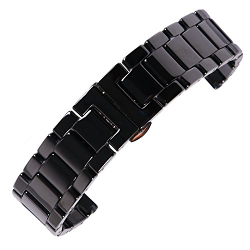 20mm fabulous full Ceramic watch belt bracelet deluxe black Wristwatch Band with elegant butterfly clasp