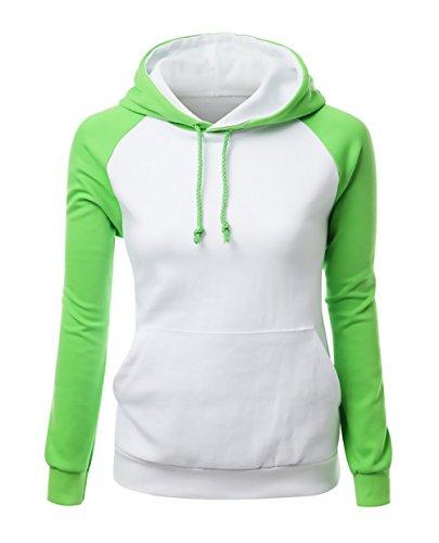 Felpa Con Cappuccio Donna Manica Lunga Elegante Patchwork Sweatshirt Hoodie Autunno E Primavera Sportiva Casual E Tasche Pullover Hoody Jogging Moda Felpe Donne Verde