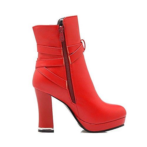AllhqFashion Damen Rein PU Hoher Absatz Rund Zehe Reißverschluss Stiefel, Rot, 37