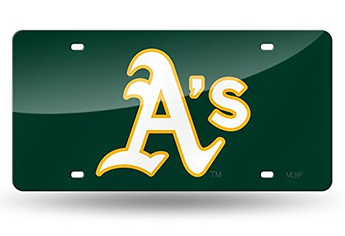 Oakland Athletics A's GREEN Premium Laser Cut Acrylic Inlaid License Plate Mirrored Tag ()
