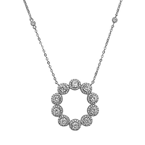 Crush + Fancy Round Crystal Pendant Necklace | 925 Sterling Silver Women's Open Circle Crystal Bezel Set Necklace | Adjustable chain 16-18 inches| HARPER