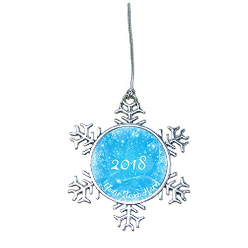 (Merry Christmas 2018 Snowflake Ornament Silver Plated Metal Gift Keepsake Decoration Choose Your Text)