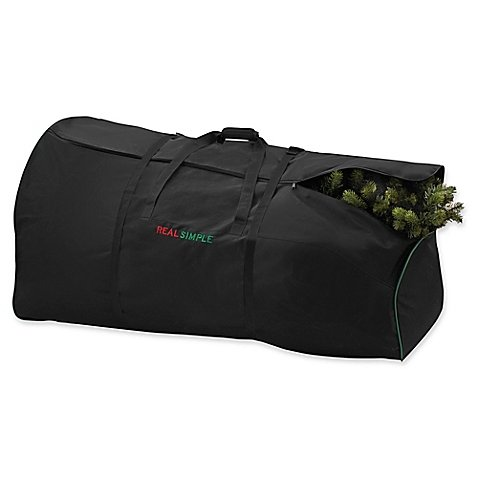 7.5-Foot Artificial Tree Storage Bag in Black, Strong Polyester Fabric, Features a Pole Guard to Prevent Punctures, Sturdy Handles, Rolling Base, Internal Pocket for Extra Storage Real Simple Christmas Tree