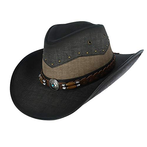 Kenny K Men's Vegan Leather Western Hat with Beaded Hatband, Medium, Jean