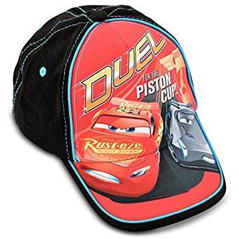 Disney Toddler Boys Cars Piston Cup Cotton Baseball Cap,Red, Black, Blue Age 2-4 One Size