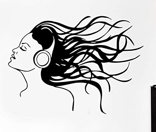 Dalxsh Headphones Music Hair Cool Wall Decals Rock Pop Song Wall Sticker for Teen Bedroom Removable Art Mural Home Decor 42X57Cm]()