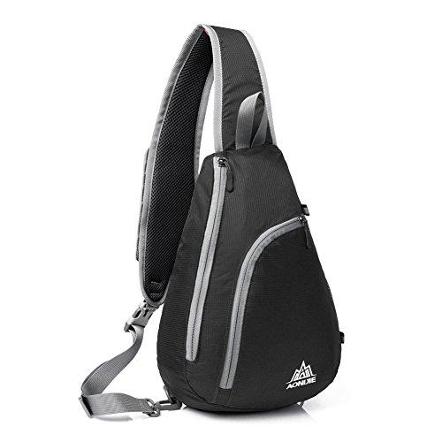 Schulter-Rucksack, GSTEK Schultertasche, Umhängetasche, Rucksack für Schule, Reisen, Radfahren, Wandern und Vieles Mehr, Sehr Leicht und Angenehm zu Tragen - Schwarz