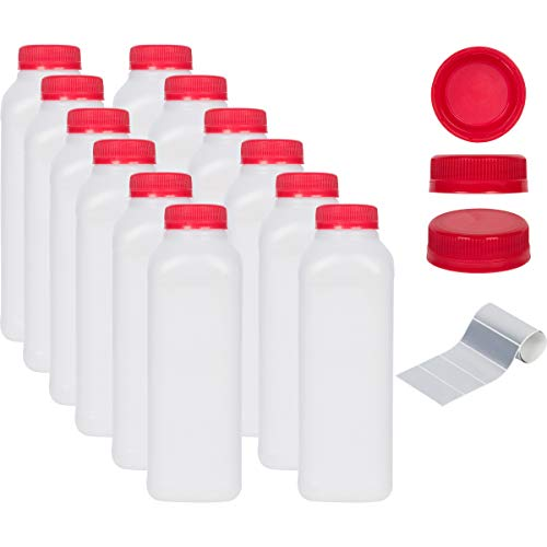 16 oz Empty Plastic Juice Bottles - Set of 12 with Tamper Evident Caps and 12 Waterproof Labels. BPA Free]()