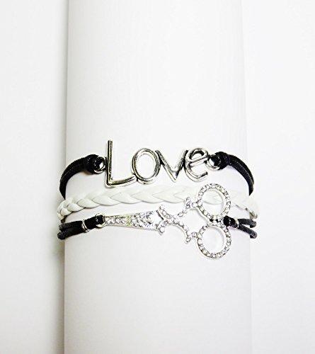 Black/White Leather Like Bling Scissors/Love Multi Strand Charm Bracelet