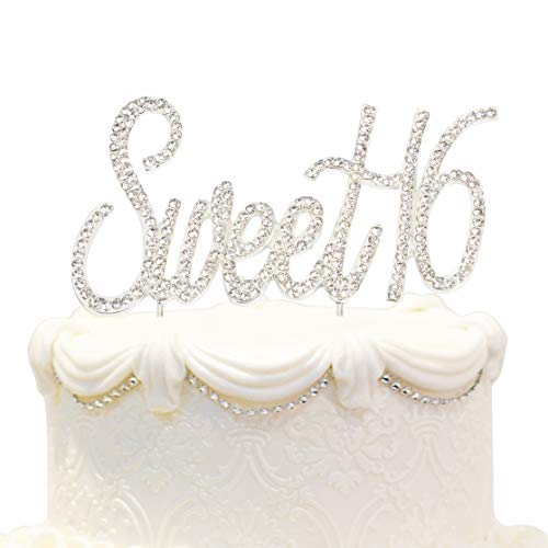 Hatcher lee Bling Crystal Sweet 16 Birthday Cake Topper - Best Keepsake | 16th Party Decorations Silver -