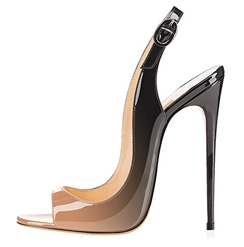 For Toe Shoes Stiletto Ankle multicolor Open Heels Women High Beige Slingback Strap Sandals Heel Ubeauty ZxnEAE