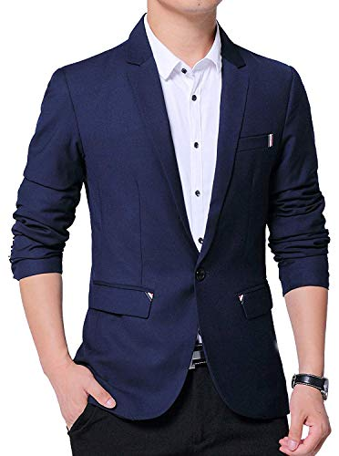 Man Lighting - GEEK LIGHTING Mens Casual Blazer One Button Slim Fit Jacket (Navy, US XL/Label 5XL)