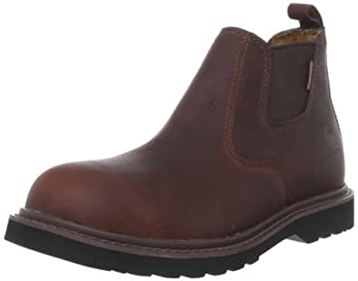 """Carhartt Men's 4"""" Romeo Waterproof Breathable Non Safety Toe Pull-On Boot CMS4100, Dark Brown Oil Tanned, 8 W US"""