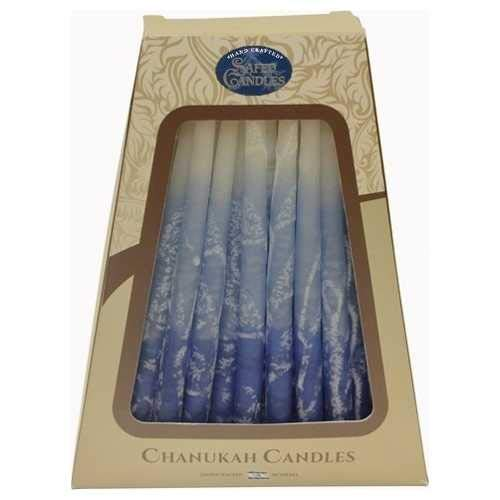Hanukkah Candles - by Safed Candles, Handcrafted in Israel, Box of 45 - Fits Most Menorahs - Premium, Kosher, Dripless, Wax, for Chanukah (Blue Marble)
