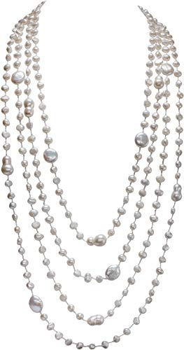 HinsonGayle 'Destiny' 4-Strand Handwoven Ultra-Iridescent White Freshwater Cultured Pearl Necklace-32 in length