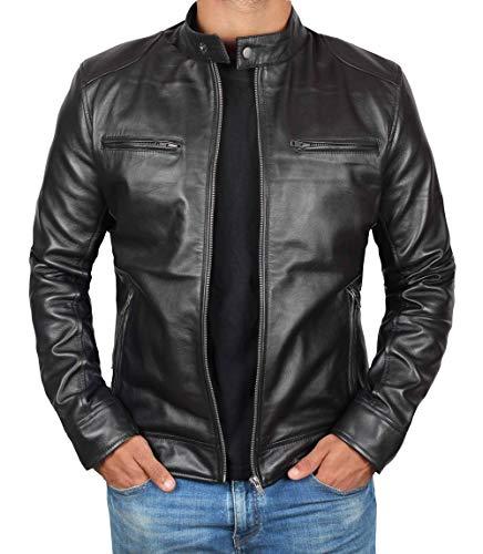 Blingsoul Black Leather Motorcycle Jacket Men   [1100125] Dodge - XL