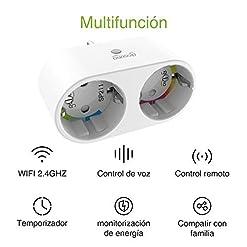 Mini Enchufe Inteligente Wifi con 2 Toma Controlar Individual, Compatible con Alexa y Google Home, Monitor de Energía, Control Remoto,Temporización,Gosund Seguro Diseño 2-1 Smart Plug Ahorrar Espacio