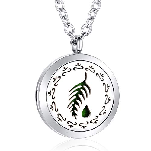 - AZORA Aromatherapy Essential Oil Diffuser Necklace Stainless Steel Locket Pendant Jewelry for Women Girls Boys Kids Christmas Gift (leaf oil diffuser necklace)