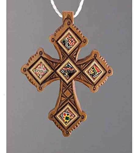 Author's Wooden Color Handmade Neck Pectoral Cross Inlaid Ethnic Style + Leather Cord