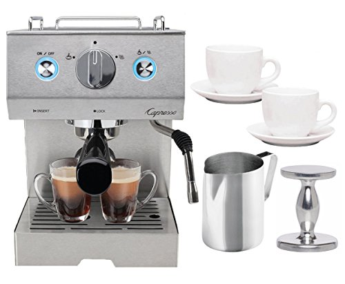Capresso 125.05 Cafe Pro Espresso Maker (Silver) + Frothing Pitcher, Tiara Espresso Cups and Handheld Tamper
