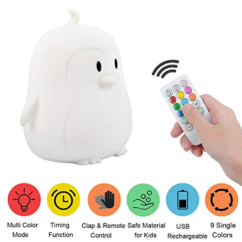 Kids Night Light, Portable Touch Sensor Remote Control LED Nightlight Multi-Color Lamp USB Rechargeable Silicone Lights 7 Color Changing Lamps for Kids Baby Bedroom Nursery Gifts Girls Women ()