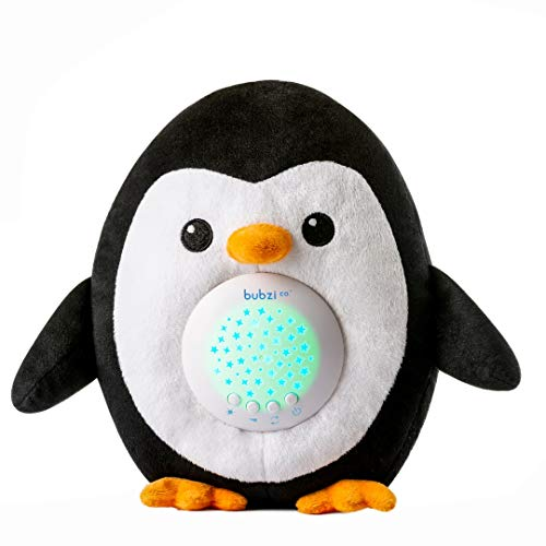 Bubzi Co White Noise Sound Machine Sleep Aid Penguin – Moms Top Baby Shower Gift – Quickly Lull Babies, Toddlers & Kids Asleep Portable Stuffed Animal Penguin Baby Soother Star Projector Night Light