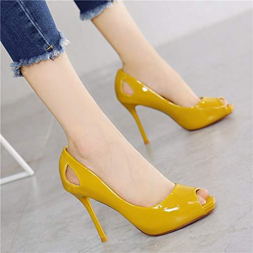 KPHY Damenschuhe Damenschuhe Damenschuhe Einzelne Schuh Lack Sexy Flachen Mund Fisch Im Mund Temperament Gelbe Eleganz Fein Hacken.Gelb 38 c163e7