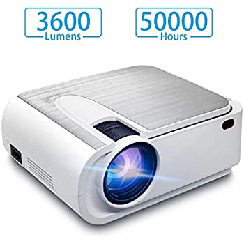 Video Projector,Full HD LED 3600 Lux Mini Partable Projector 2019 New,1080p and 300 Display 50000 Hours Projector for Home Movie,Compatible with TV ...