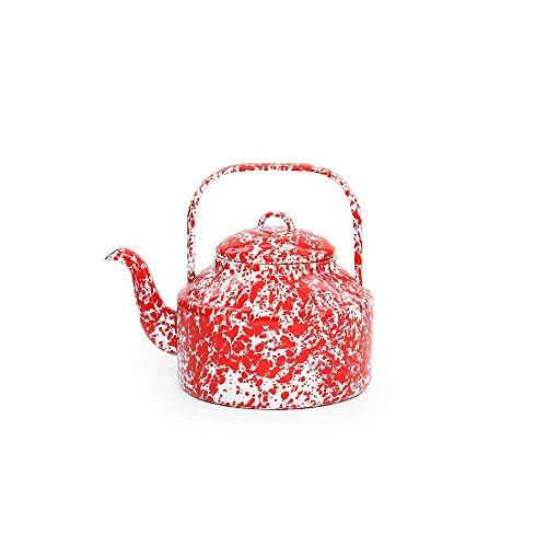 Enamelware Tea Kettle - Enamelware Tea Kettle, 2.75 quart, Red/White Splatter