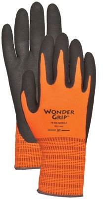 Wonder Grip WG510HVM High-Visibility Extra Tough Seamless Knit Nitrile Palm Work Gloves, Textured Double-Coated Nitrile Palm, Medium, High-Visibility Orange