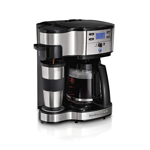 (Hamilton Beach 49980A 2-Way Brewer Coffee Maker, Single-Serve with 12-Cup Carafe, Stainless Steel)