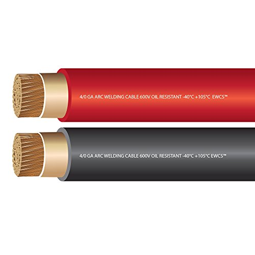 EWCS 4/0 Gauge Premium Extra Flexible Welding Cable 600 Volt Brand - COMBO PACK - 10 FEET EACH BLACK+RED - Made in the USA! -