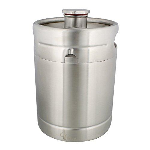 64 Ounce Stainless Steel Mini Keg Growler - Wine Keg Draft Beer Growlers for Beer, Water, Soda, Wine, Coffee ()