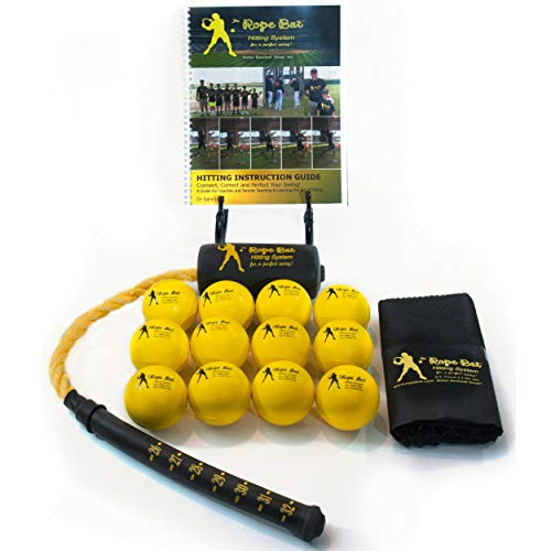 Rope Bat - Ultimate Rope Bat Hitting System Combo w/ 12 Smushballs - Baseball & Softball Swing Trainer, Training Tool, Batting Aid ...