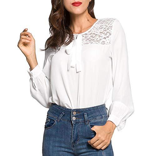 Chemisier Tunique de Dentelle Femme Chic Blanc Lace Blouse Mousseline Shirt Haut en Elgante Manches T Tops Longue Soie Chemise 7wf1Az