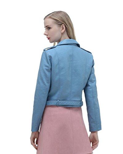 Eyekepper Moda de las mujeres de manga larga de cremallera PU suave de cuero chaqueta de abrigo delgado con hebilla ajustable Azul