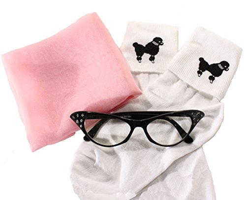 [50s Set - Poodle Bobby Socks, Chiffon Scarf & Cat Eye Glasses - Hey Viv ! (Light Pink Scarf)] (Poodle Skirt Set)