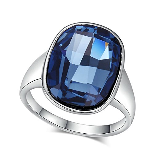 Psrings Silvery Nobleness Deep Blue Crystal Ring White Gold Plated Austrian Crystals 8 0