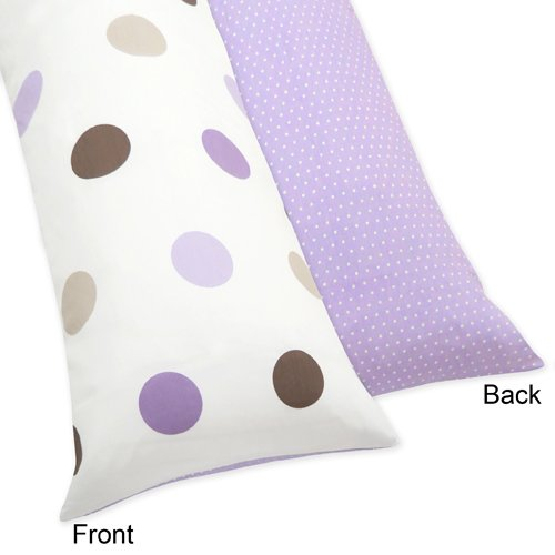 Sweet Jojo Designs Purple and Brown Mod Dots Full Length Double Zippered Body Pillow Case ()