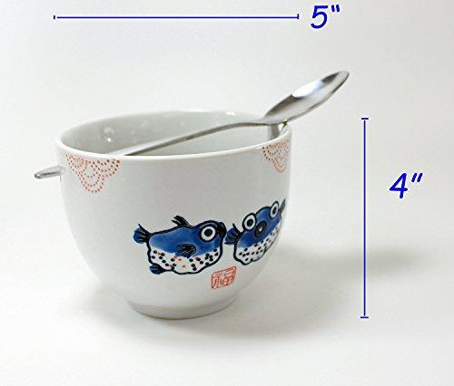 ラーメンボウル [Set of 2] Japanese Porcelain Ceramic Bowls w Chopsticks Ramen Soup Noodle Porridge Menudo Ramen Udon Pasta Cereal Ice cream Pho Rice Instant Noodle ~ We Pay Your Sales Tax (Puffer Fish) by We pay your sales tax (Image #1)